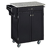 Home Styles Cuisine Cart Black Finish with Grane Top - H127304