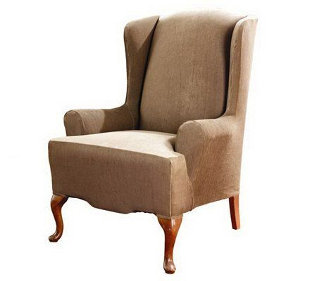 sure fit stretch stripe t cushion wing chair slipcover