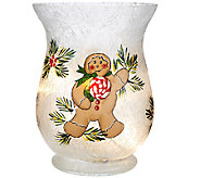 Holiday Frosted Glass Vase with Micro Lights by Valerie - H205804