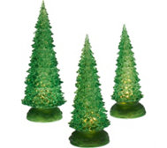 Set of 3 Illuminated Sparkling Trees by Valerie