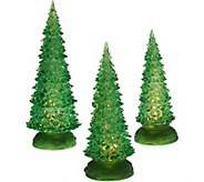 Set of 3 Illuminated Sparkling Trees by Valerie - H206304