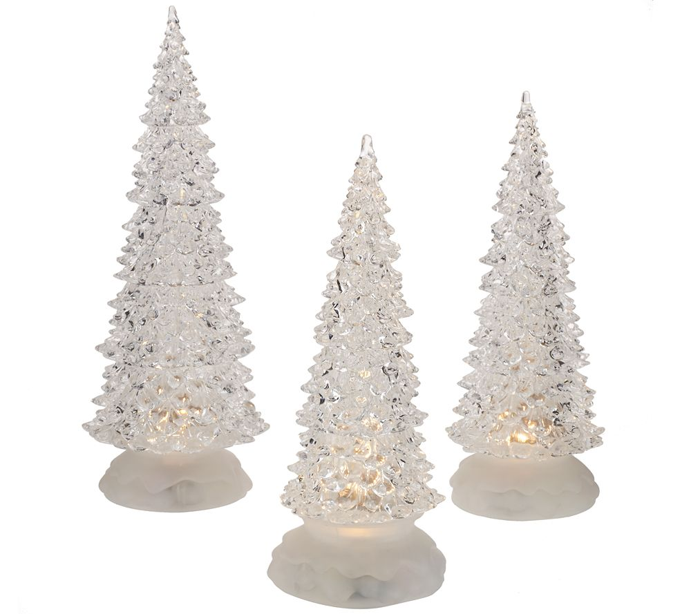 set of 3 illuminated sparkling trees by valerie page 1 qvccom - 3 Christmas Tree
