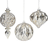Kringle Express Set of 3 Lit Indoor/Outdoor Shatterproof Ornaments - H209404