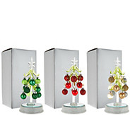 Kringle Express S/3 Lit Glass Trees with Ornaments in Gift Boxes - H210704