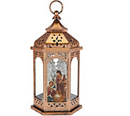 Plow & Hearth 13 Illuminated Lantern with Holiday Scene - H211604