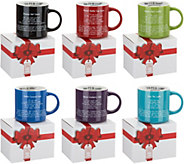 Mr. Food Set of 6 Assorted Recipe Mugs with Gift Boxes - H212904