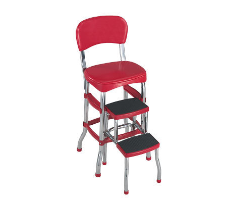 Cosco Red Retro Counter Chair Step Stool Qvc Com