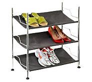 Honey-Can-Do 3-Shelf Chrome Frame Canvas Shoe Rack - H357004