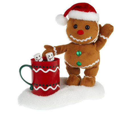Musical Plush Gingerbread or Snowman with Animated Hot Cocoa
