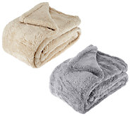 Berkshire Blanket Set of 2 Super Soft 55x 70 Fluffie Throws - H203305