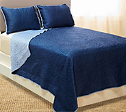Dennis Basso 3pc Hayley Matte Satin Quilted King Coverlet Set - H204805