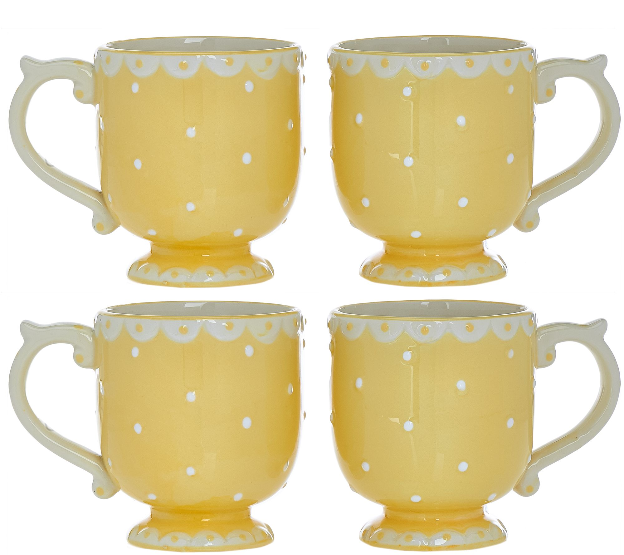 Set of 4 Swiss Dot Plates, Bowls, or Mugs by Valerie