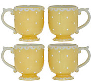 Set of 4 Swiss Dot Plates, Bowls or Mugs by Valerie - H205005