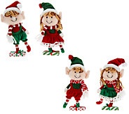 Set of 4 Plush Elf Ornaments with Clip by Valerie - H205305