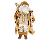 18 Elegant Santa Figure with Presents, Horn & Faux Fur Accents - H206705