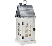As Is Dennis Basso 16 Wooden Village Lantern with FlamelessCandle - H208405