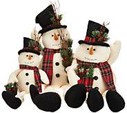 Set of 3 Linen Snowmen w/ Felt Details & Plaid Scarves by Valerie - H211505