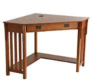 Lawrence Corner Desk with Keyboard Drawer - OakFinish - H155506