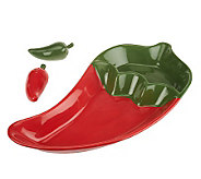 Ceramic Chili Pepper Bowl with Matching S&P Shakers by Valerie - H199006