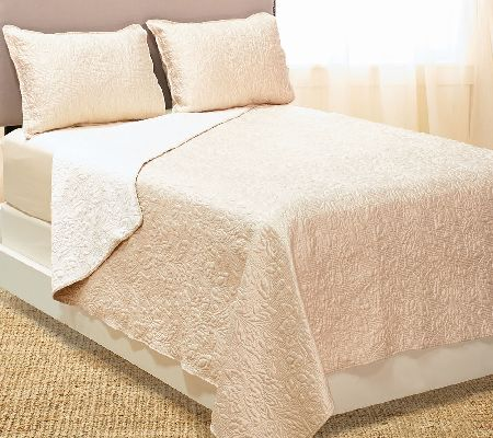 Dennis Basso 3pc Hayley Quilted Matte Satin Coverlet/Sham
