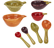 ED On Air Set of 4 Veggie Measuring Cups & Spoons by Ellen DeGeneres - H207006