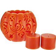 HomeWorx by Harry Slatkin Carved Wax Pumpkin with 2 Votive Candles - H211406