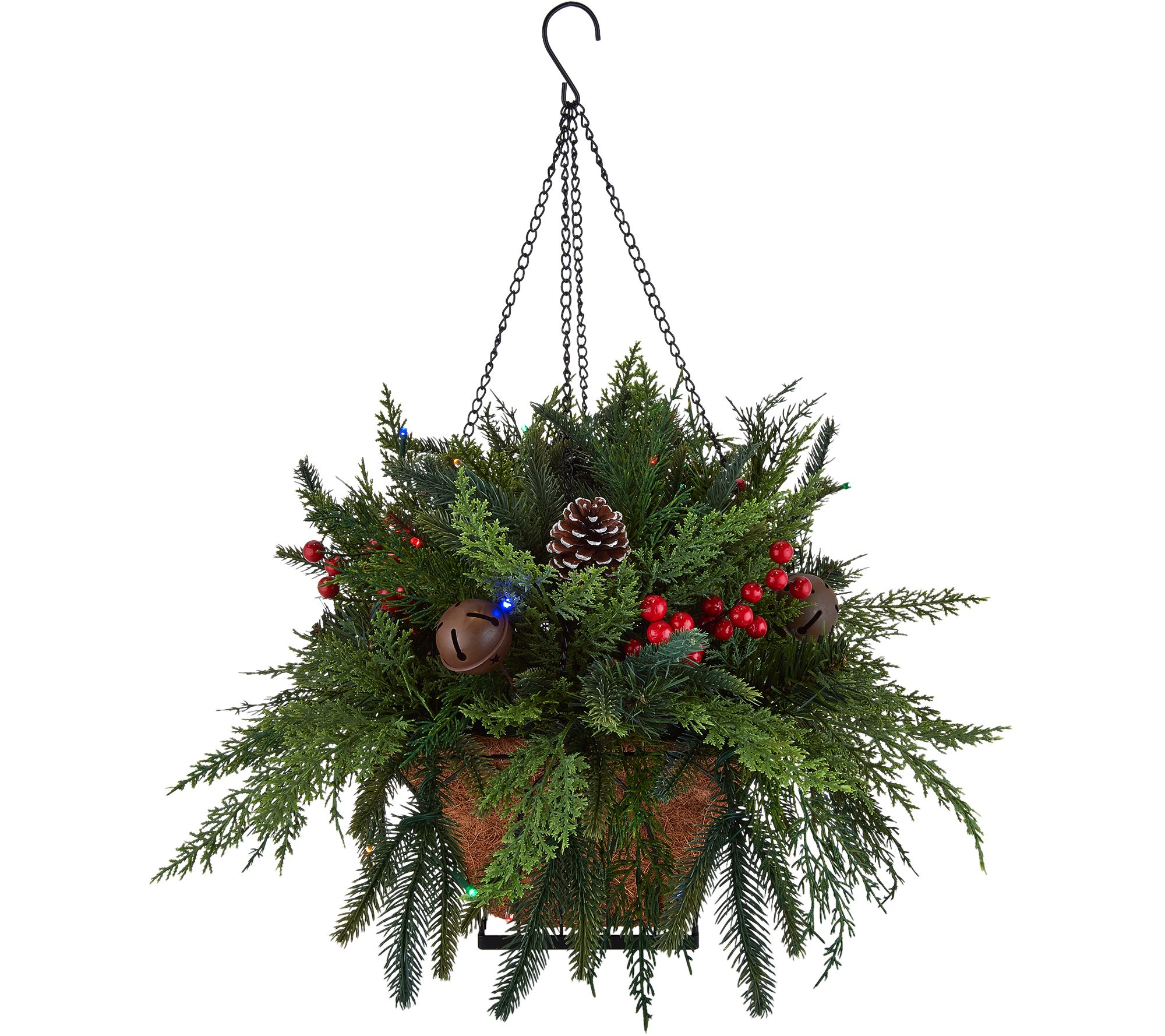 How to make real christmas wreaths - Bethlehem Lights Prelit Indoor Outdoor Mixed Cedar Hanging Basket H211706
