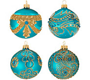 Hallmark Heritage S/4 Blown Glass Ornaments with Glitter Accents - H212406