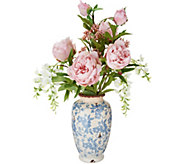 Peony and Wisteria Arrangement in Blue and Cream Vase by Peony - H214806