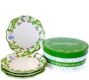 Temp-tations Dragonfly Set of Four Dessert Plates - H288806