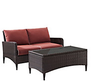 Kiawah 2-pc Outdoor Wicker Seating Set with Sangria Cushions - H289506