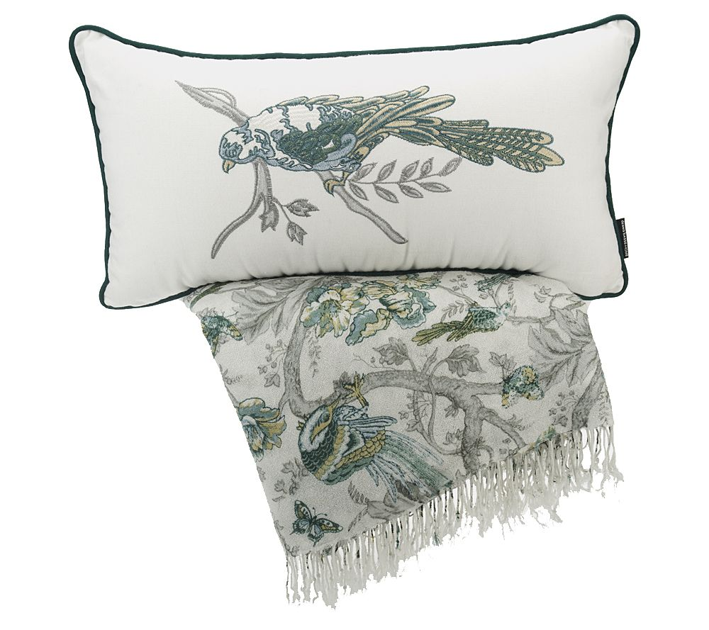 Quilted Throw Pillows Patterns : Dennis Basso Garden Throw and Pillow Set - Page 1 ? QVC.com