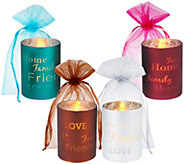 As Is Set of 4 Glass Words To Live By Flameless Candles - H205107
