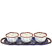 As Is Temp-tations (3) 4oz. Ceramic Candles with Tray - H206207