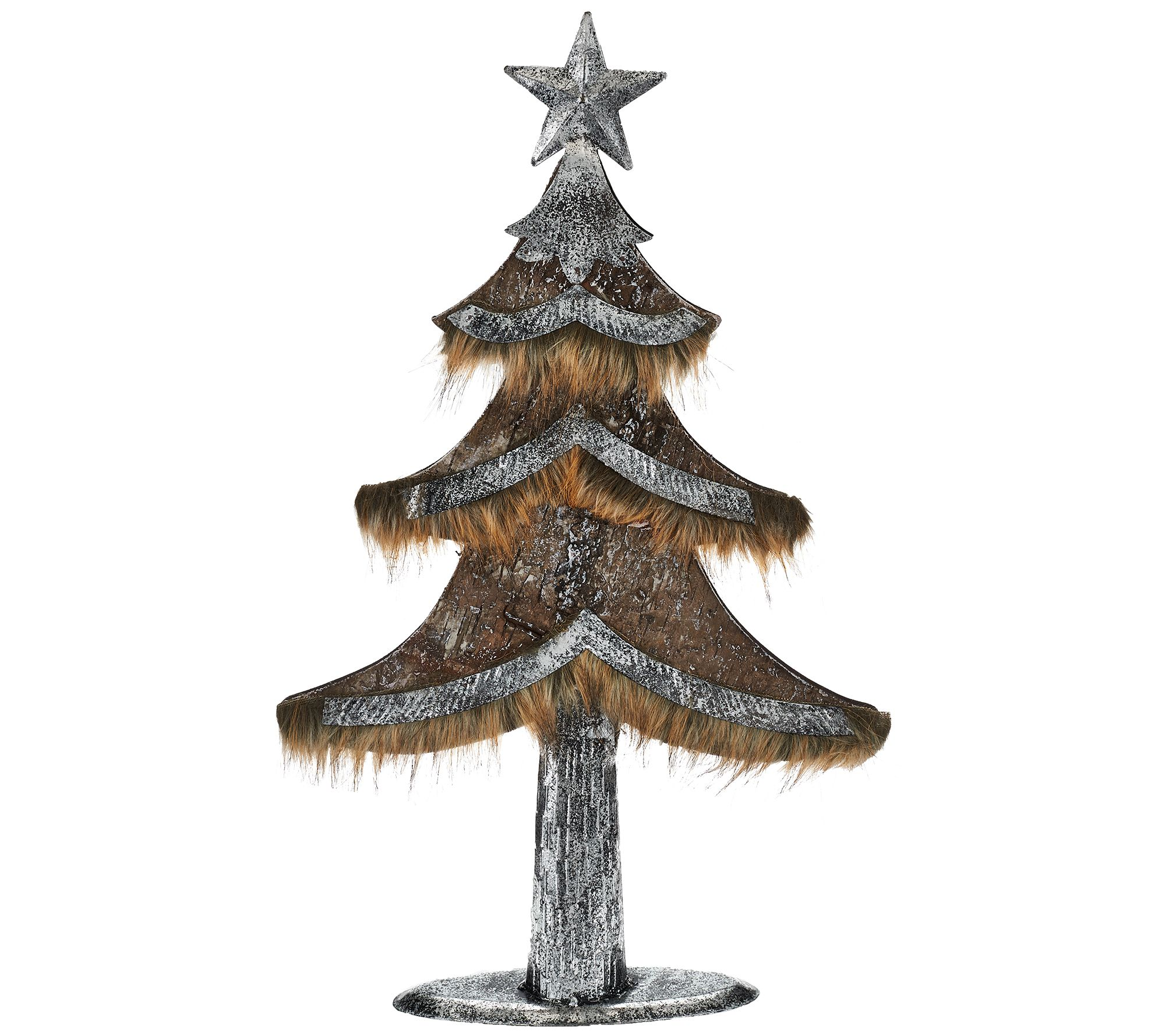 Glass christmas tree with ornaments miniature - Woodland Couture Faux Leather And Fur Tree Or Deer H206607