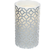 7.8 Bethlehem Lights Aqua Flame Embossed Pattern Candle and Fountain - H209007