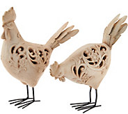 Set of 2 Whitewash Carved Animals by Valerie - H210507