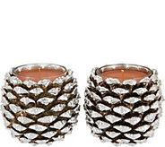 HomeWorx by Harry Slatkin Set of 2 Silver Pinecone Candles - H211407