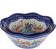 Lidias Polish Pottery Set of 2 Viki Bowls - H212207