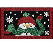 Waverly 21 x 33 Black Christmas Snowman Rug by Nourison - H293107