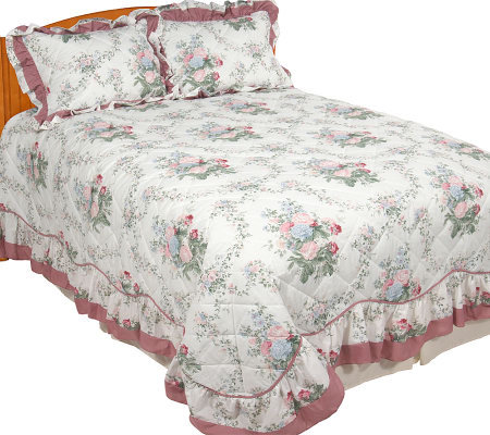 Brenda Full Bedspread with Attached Ruffle and Shams