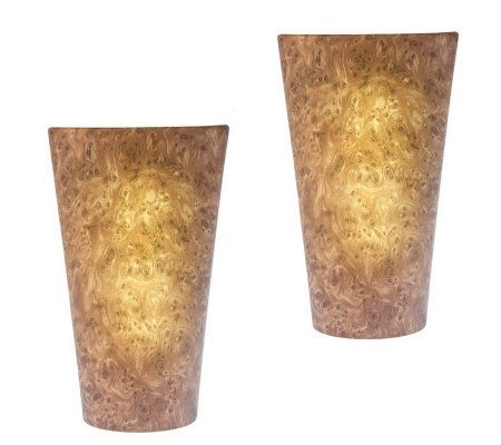 Set of Two Vivid Battery Powered Wall Sconce QVC.com