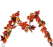 6 Mini Pumpkin Garland with Autumn Leaves - H206208