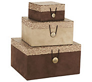 As Is Dennis Basso Set of 3 Stackable Boxes with Button Closures - H210308