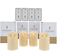 Luminara (4) 4 Flameless Unscented Candles with 4 Remotes - H210508