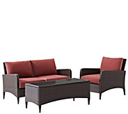 Kiawah 3-pc Outdoor Wicker Seating Set w/ Sangria Cushions - H289508