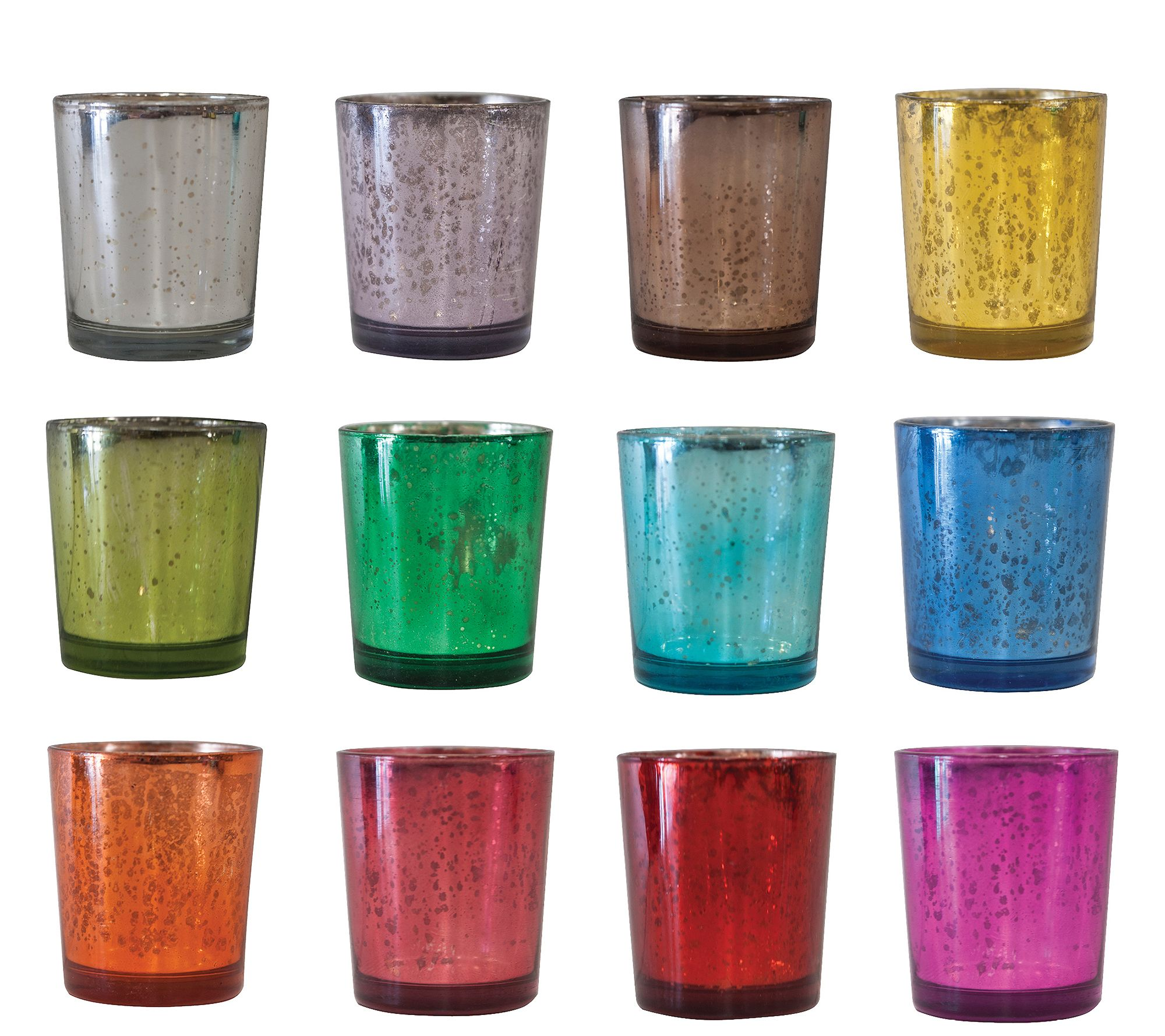 12 Piece 3 Colored Antiqued Glass Votive Holders By