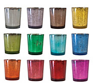 12-Piece 3 Colored Antiqued Glass Votive Holders by Valerie - H290108