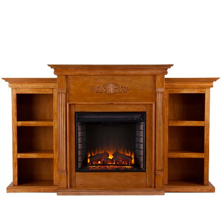 gilmore glazed pine electric fireplace w bookcases page 1. Black Bedroom Furniture Sets. Home Design Ideas