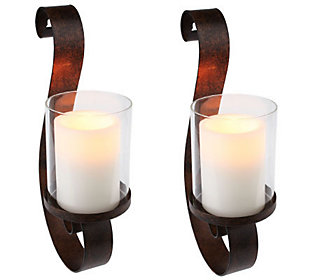 HomeReflections Set of 2 Wall Sconces w/Flameless Candles w/Timer
